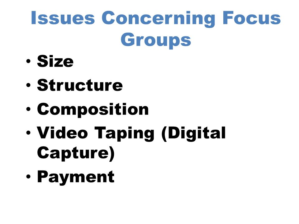 Pricing Issues Related to Focus Groups Development of the Discussion Guide Field Supervision (Facility mgt) –Meals- Travel –Payment of Subjects- Videotaping –Costs for Facilities- Parking Moderating Transcription Data Analysis Report Writing Report Presentation