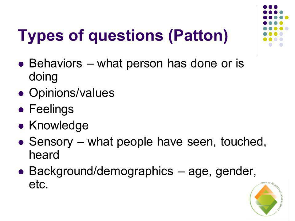 Types of questions (Patton) Behaviors – what person has done or is doing Opinions/values Feelings Knowledge Sensory – what people have seen, touched, heard Background/demographics – age, gender, etc.