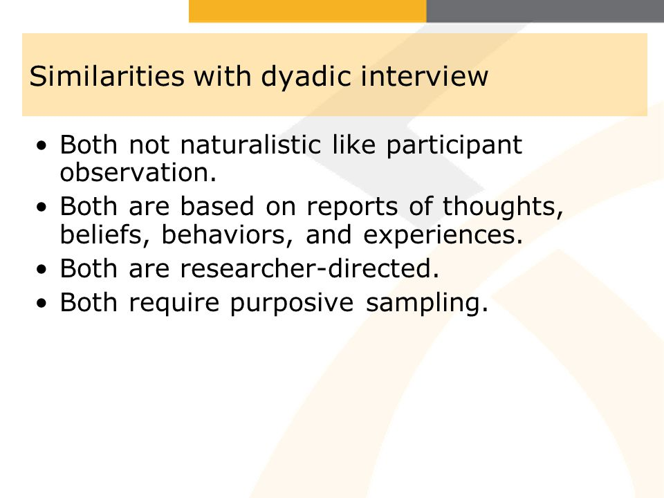 Similarities with dyadic interview Both not naturalistic like participant observation.