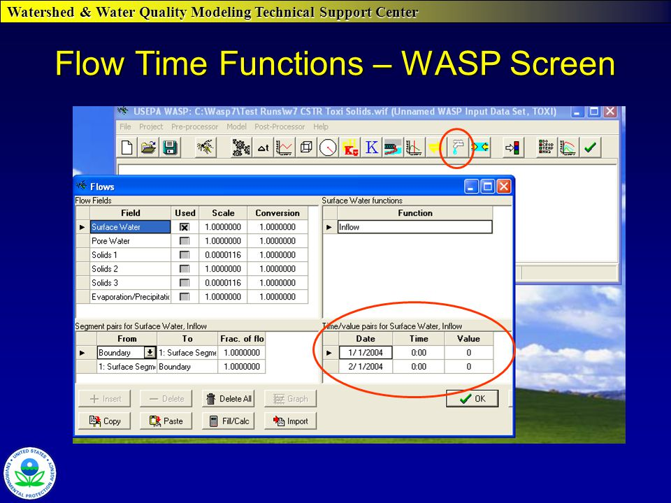 Watershed & Water Quality Modeling Technical Support Center Flow Time Functions – WASP Screen