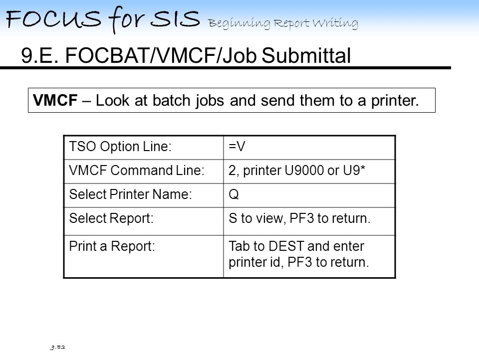 FOCUS for SIS Beginning Report Writing 9.E.