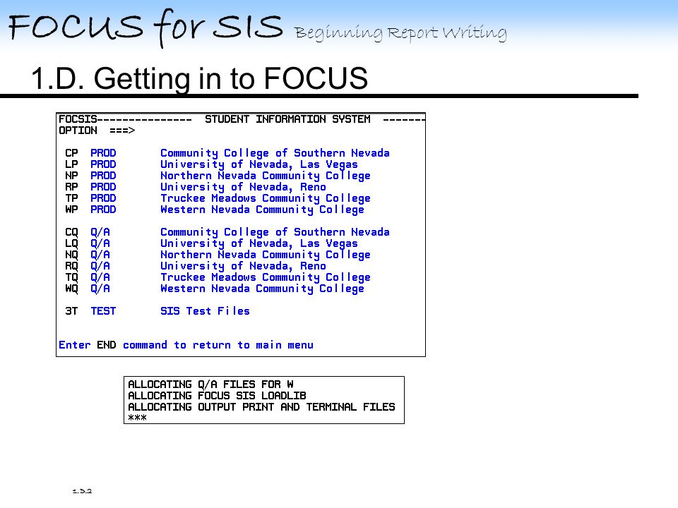 FOCUS for SIS Beginning Report Writing 1.D.