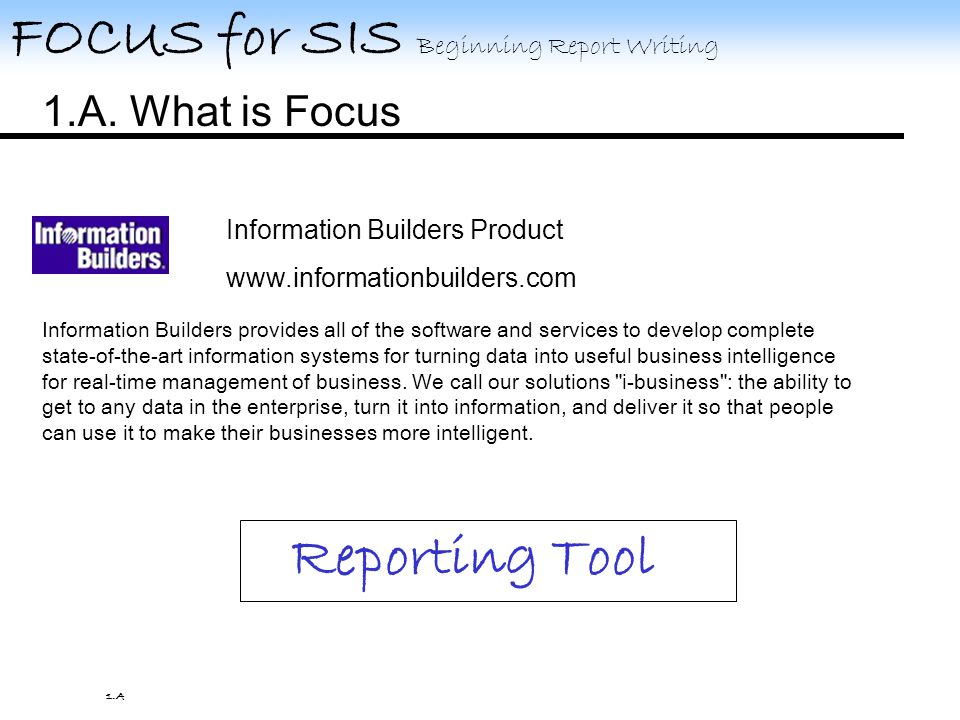 FOCUS for SIS Beginning Report Writing TED is the FOCUS text editor that is used to create and change your procedures called FOCEXECs.