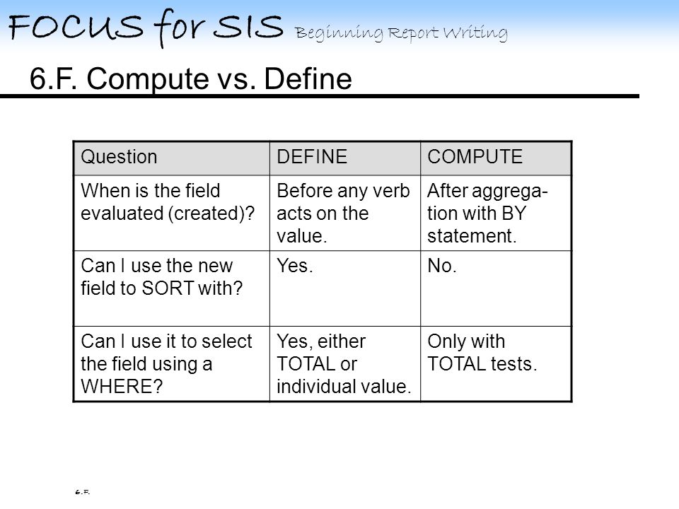 FOCUS for SIS Beginning Report Writing 6.E. Compute 6.E.