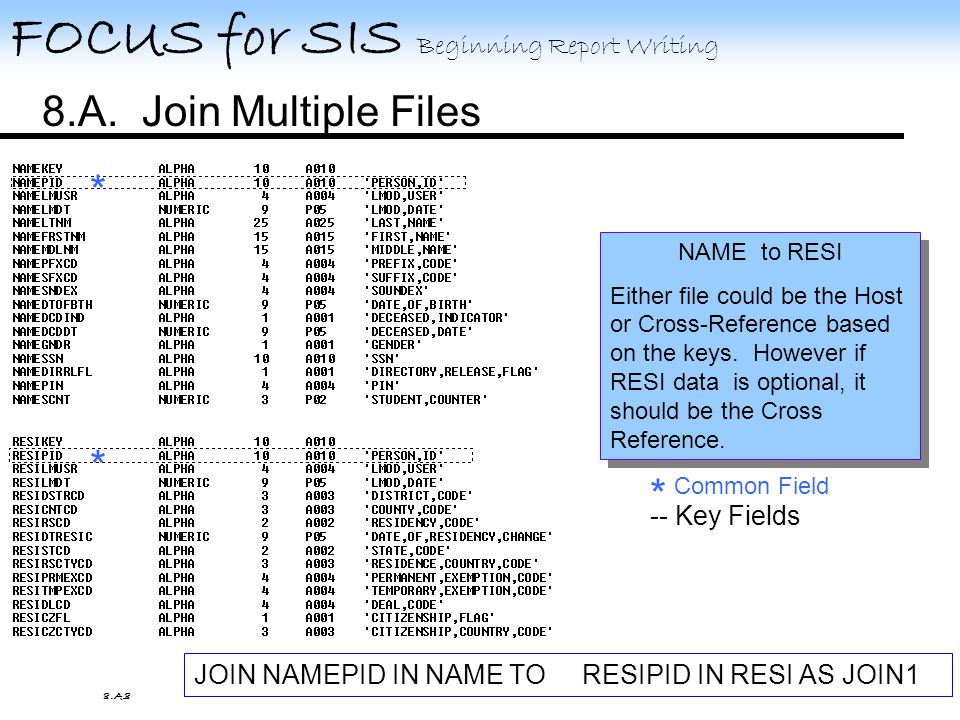 FOCUS for SIS Beginning Report Writing 8.A. Join Multiple Files 8.A.7 Find the common fields.