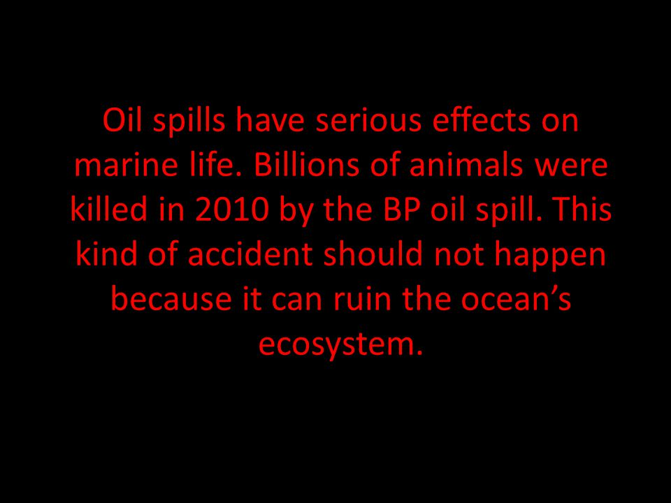 Oil spills have serious effects on marine life.