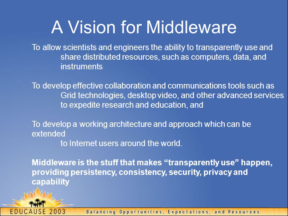 NMI-EDIT Findings Consensus on inter-institutional middleware standards and maturing architecture to support collaborative applications Widespread interest in Shibboleth within R&E communities Credential mapping from core enterprise to Grid service Grid adoption of SAML in Open Grid Services Architecture (OGSA)