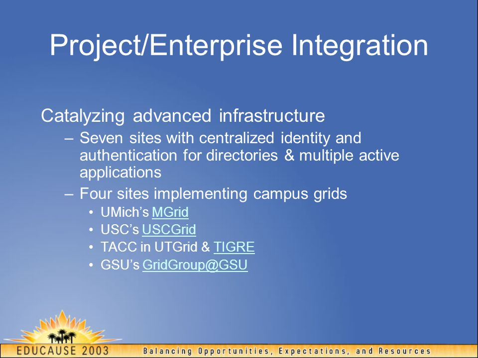 Project/Enterprise Integration Catalyzing advanced infrastructure –Seven sites with centralized identity and authentication for directories & multiple active applications –Four sites implementing campus grids UMich's MGridMGrid USC's USCGridUSCGrid TACC in UTGrid & TIGRETIGRE GSU's GridGroup@GSUGridGroup@GSU