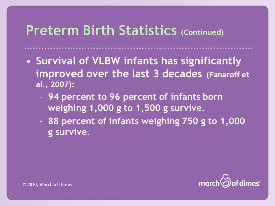 © 2010, March of Dimes Preterm Birth Statistics (Continued) Survival of VLBW infants has significantly improved over the last 3 decades (Fanaroff et a