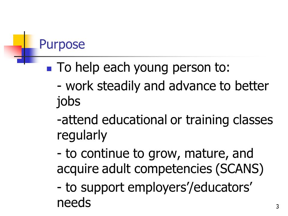3 Purpose To help each young person to: - work steadily and advance to better jobs -attend educational or training classes regularly - to continue to grow, mature, and acquire adult competencies (SCANS) - to support employers'/educators' needs