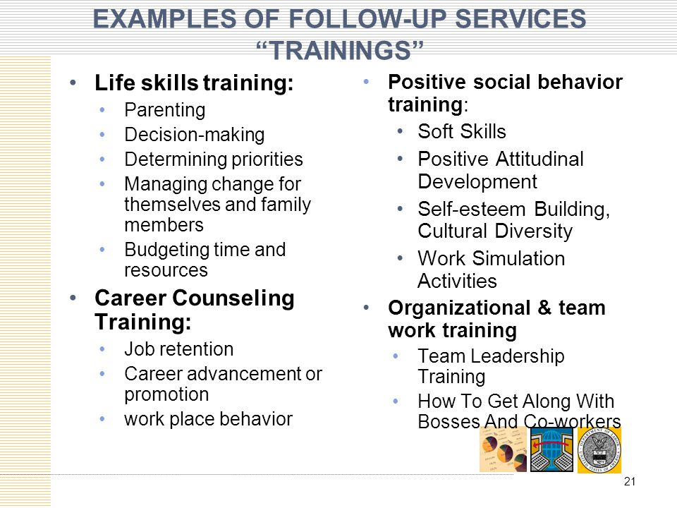 EXAMPLES OF FOLLOW-UP SERVICES TRAININGS Life skills training: Parenting Decision-making Determining priorities Managing change for themselves and family members Budgeting time and resources Career Counseling Training: Job retention Career advancement or promotion work place behavior Positive social behavior training: Soft Skills Positive Attitudinal Development Self-esteem Building, Cultural Diversity Work Simulation Activities Organizational & team work training Team Leadership Training How To Get Along With Bosses And Co-workers 21