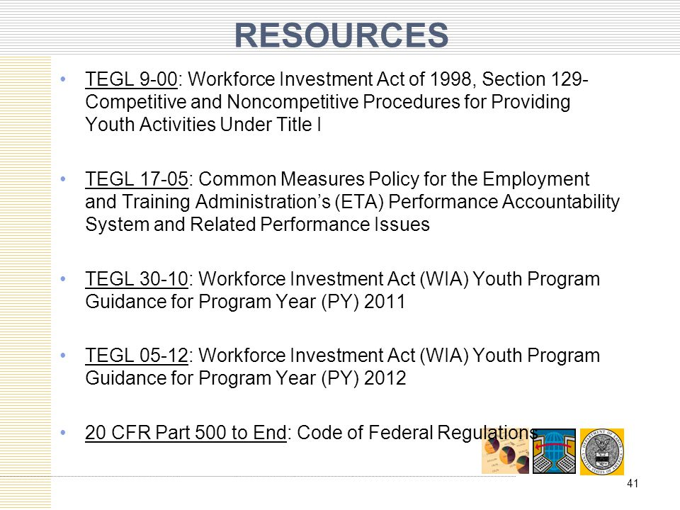 RESOURCES TEGL 9-00: Workforce Investment Act of 1998, Section 129- Competitive and Noncompetitive Procedures for Providing Youth Activities Under Tit