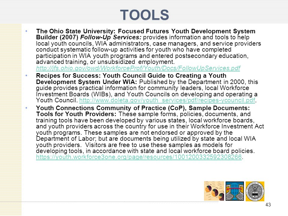 TOOLS The Ohio State University: Focused Futures Youth Development System Builder (2007) Follow-Up Services: provides information and tools to help lo