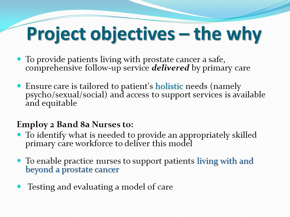 Project objectives – the why To provide patients living with prostate cancer a safe, comprehensive follow-up service delivered by primary care holistic Ensure care is tailored to patient s holistic needs (namely psycho/sexual/social) and access to support services is available and equitable Employ 2 Band 8a Nurses to: To identify what is needed to provide an appropriately skilled primary care workforce to deliver this model living with and beyond a prostate cancer To enable practice nurses to support patients living with and beyond a prostate cancer Testing and evaluating a model of care