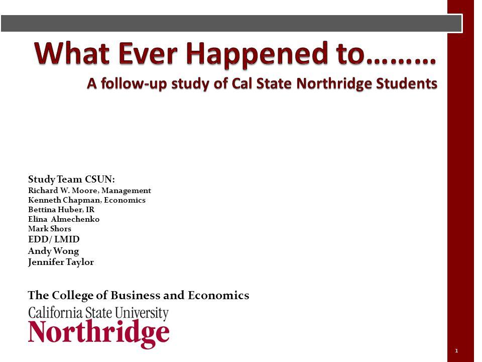 Study Team CSUN: Richard W. Moore, Management Kenneth Chapman, Economics Bettina Huber, IR Elina Almechenko Mark Shors EDD/ LMID Andy Wong Jennifer Ta