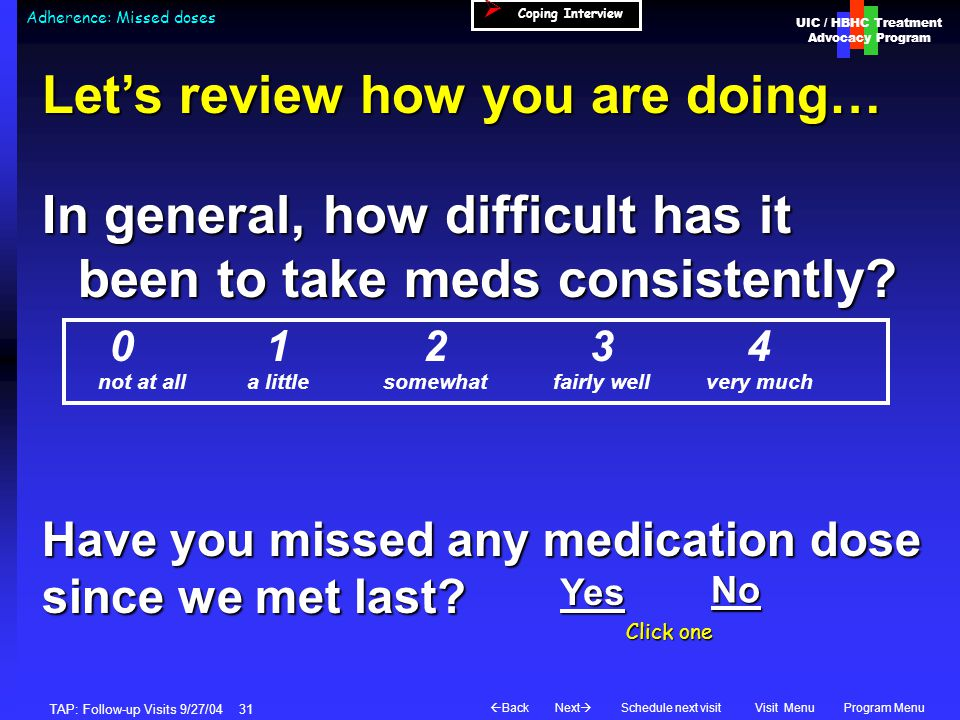 UIC / HBHC Treatment Advocacy Program Next  BackVisit MenuSchedule next visitProgram Menu TAP: Follow-up Visits 9/27/04 31 Adherence: Missed doses  Coping Interview Let's review how you are doing… not at alla littlesomewhatfairly wellvery much In general, how difficult has it been to take meds consistently.