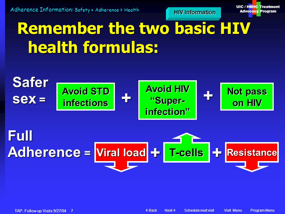 UIC / HBHC Treatment Advocacy Program Next  BackVisit MenuSchedule next visitProgram Menu TAP: Follow-up Visits 9/27/04 7 Adherence Information: Safety + Adherence = Health Remember the two basic HIV health formulas: Viral load Resistance T-cells Full Adherence = ++ HIV Information HIV InformationSafer sex = Avoid STD infections Not pass on HIV + Avoid HIV Super- infection +