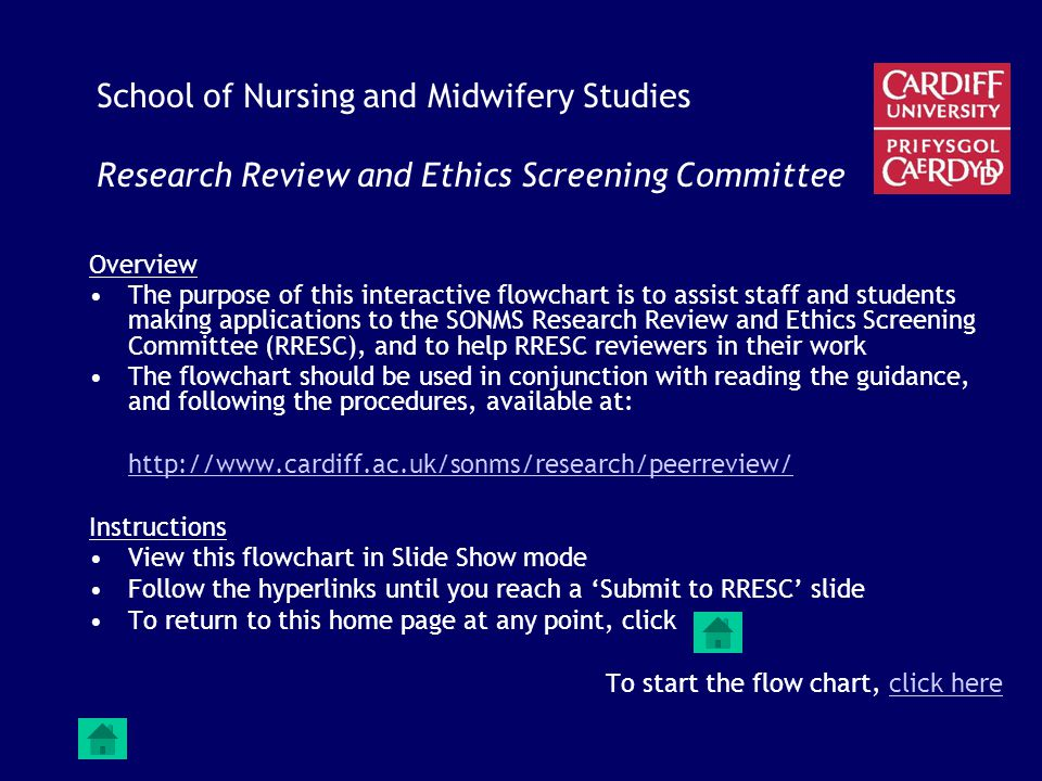 School of Nursing and Midwifery Studies Research Review and Ethics Screening Committee Overview The purpose of this interactive flowchart is to assist staff and students making applications to the SONMS Research Review and Ethics Screening Committee (RRESC), and to help RRESC reviewers in their work The flowchart should be used in conjunction with reading the guidance, and following the procedures, available at: http://www.cardiff.ac.uk/sonms/research/peerreview/ Instructions View this flowchart in Slide Show mode Follow the hyperlinks until you reach a 'Submit to RRESC' slide To return to this home page at any point, click To start the flow chart, click hereclick here