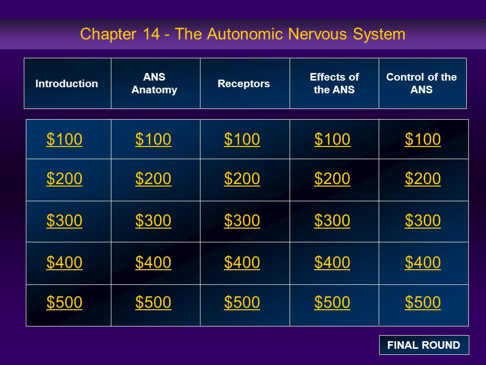 Effects of the ANS: $100 Question The parasympathetic nervous system is more active when we are _______.