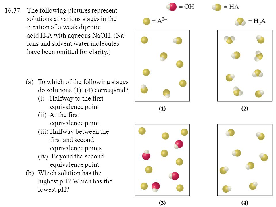 (a)To which of the following stages do solutions (1)–(4) correspond? (i) Halfway to the first equivalence point (ii) At the first equivalence point (i