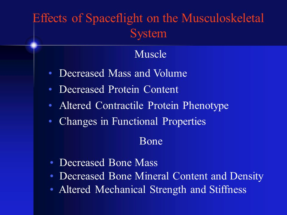 Effects of Spaceflight on the Musculoskeletal System Decreased Mass and Volume Decreased Protein Content Altered Contractile Protein Phenotype Changes in Functional Properties Bone Decreased Bone Mass Decreased Bone Mineral Content and Density Altered Mechanical Strength and Stiffness Muscle
