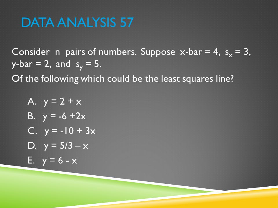 DATA ANALYSIS 57 Consider n pairs of numbers. Suppose x-bar = 4, s x = 3, y-bar = 2, and s y = 5. Of the following which could be the least squares li