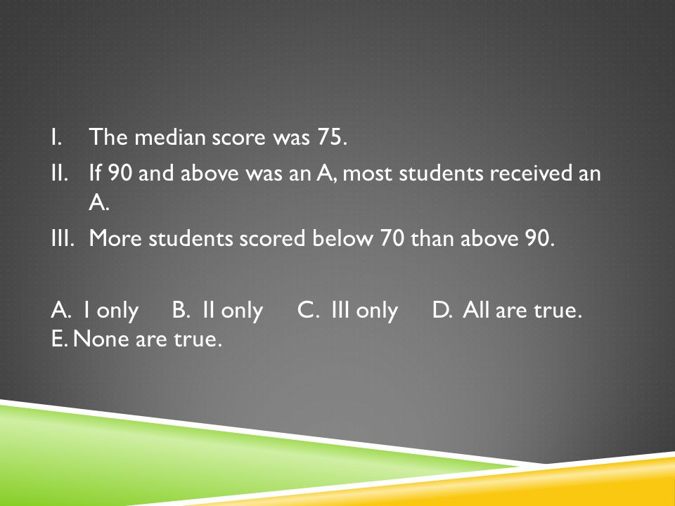 I.The median score was 75. II.If 90 and above was an A, most students received an A. III.More students scored below 70 than above 90. A. I only B. II