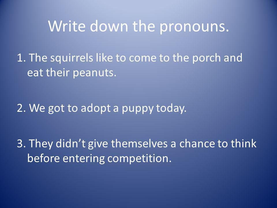 Write down the pronouns.1. The squirrels like to come to the porch and eat their peanuts.