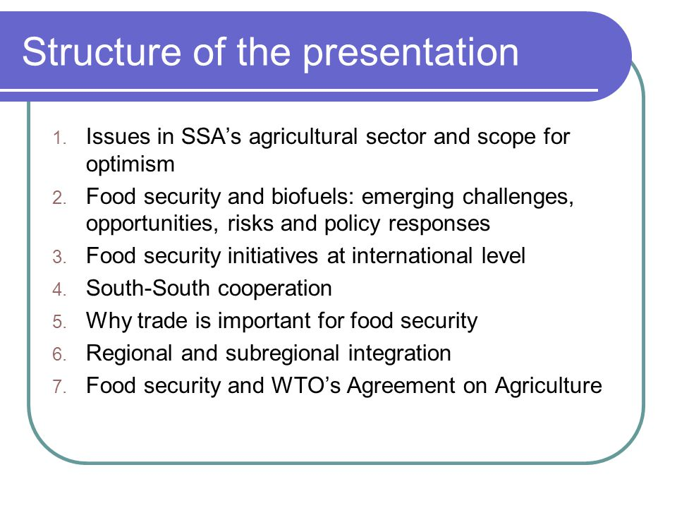 Food security initiatives at international level They include: The United Nations' High Level Task Force on food security and Common Framework for Action.