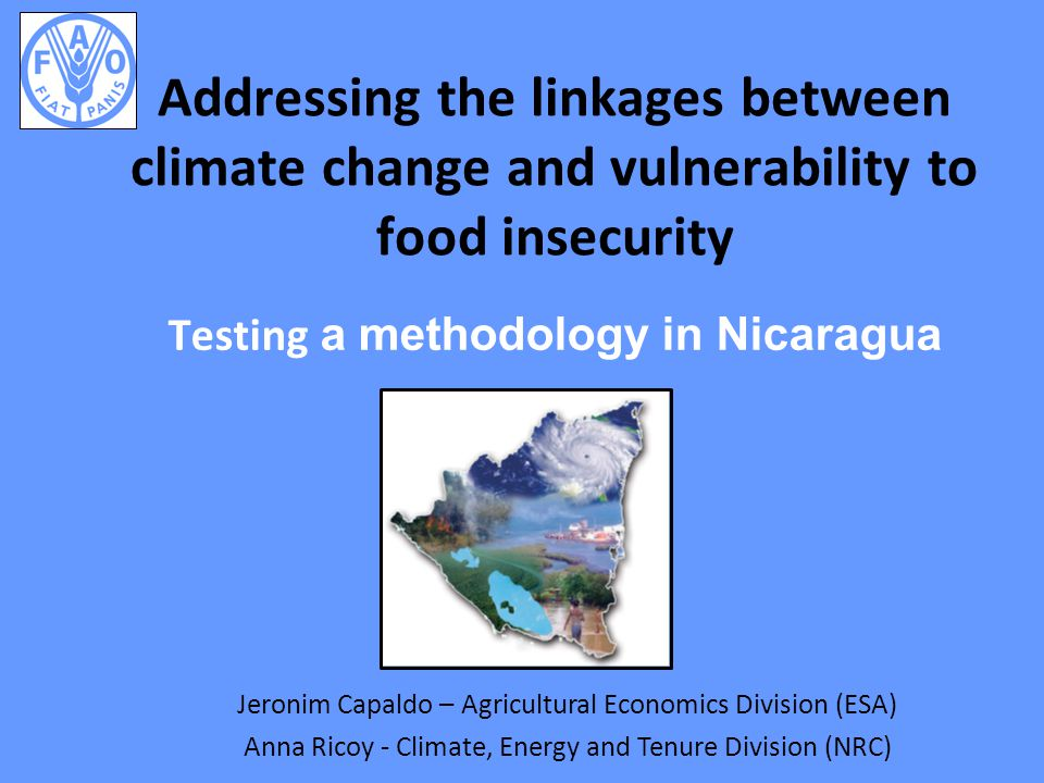 Purpose, rationale and approach Purpose To contribute to a comprehensive research approach that bridges the gap between analysis of climate change (CC) impacts on food security (FS) and policy-making Rationale Downscale the broad and global CC agenda at the local level Engage policy makers to better address the impact of CC on FS at household level Approach Focus on vulnerable groups Address the access component of FS