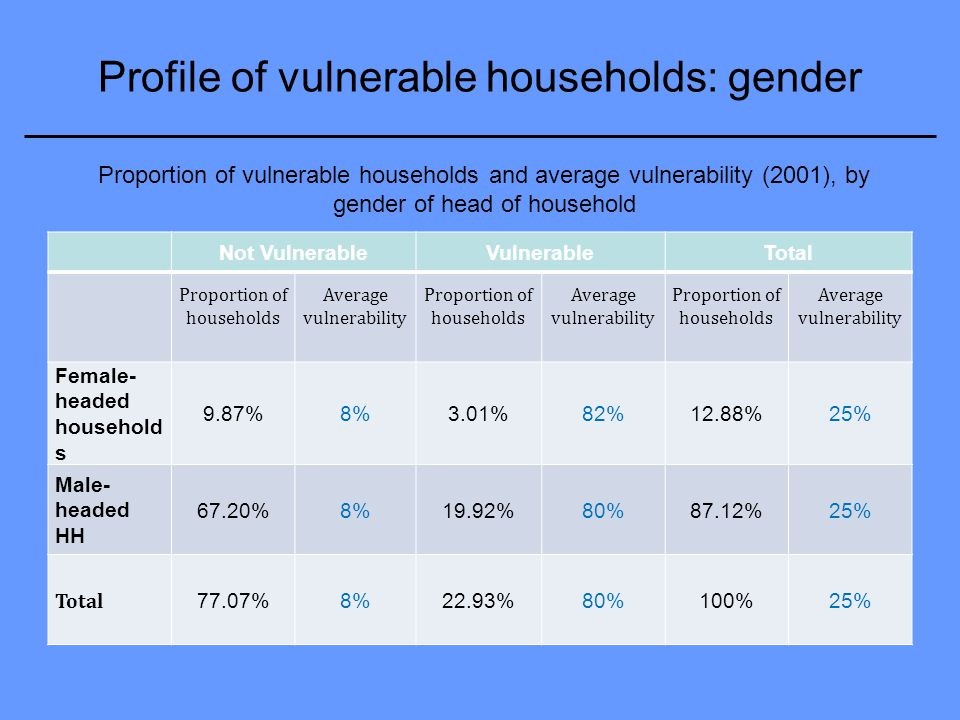 Profile of vulnerable households: gender Not VulnerableVulnerableTotal Proportion of households Average vulnerability Proportion of households Average vulnerability Proportion of households Average vulnerability Female- headed household s 9.87%8%3.01%82%12.88%25% Male- headed HH 67.20%8%19.92%80%87.12%25% Total 77.07%8%22.93%80%100%25% Proportion of vulnerable households and average vulnerability (2001), by gender of head of household