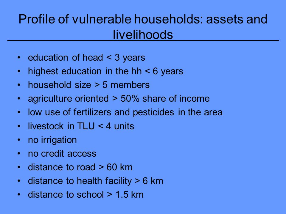 Profile of vulnerable households: assets and livelihoods education of head < 3 years highest education in the hh < 6 years household size > 5 members agriculture oriented > 50% share of income low use of fertilizers and pesticides in the area livestock in TLU < 4 units no irrigation no credit access distance to road > 60 km distance to health facility > 6 km distance to school > 1.5 km