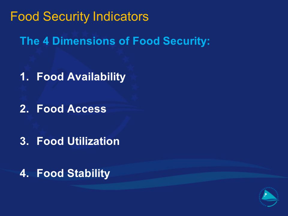 The 4 Dimensions of Food Security: 1.Food Availability 2.Food Access 3.Food Utilization 4.Food Stability Food Security Indicators