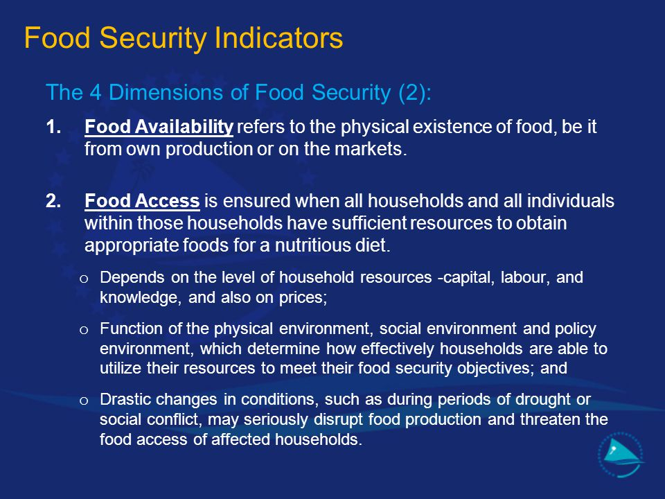 The 4 Dimensions of Food Security (2): 1.Food Availability refers to the physical existence of food, be it from own production or on the markets. 2.Fo