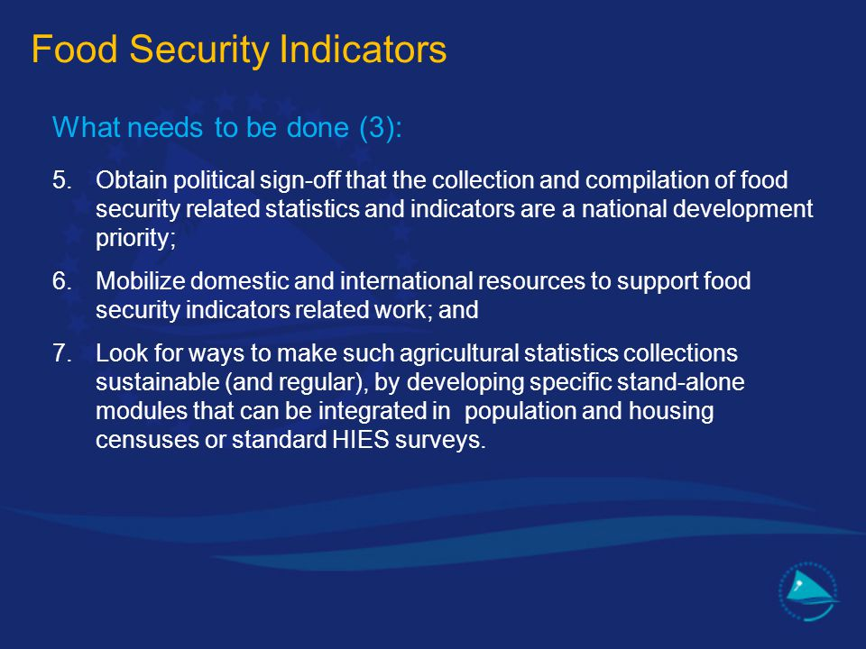 What needs to be done (3): 5.Obtain political sign-off that the collection and compilation of food security related statistics and indicators are a na