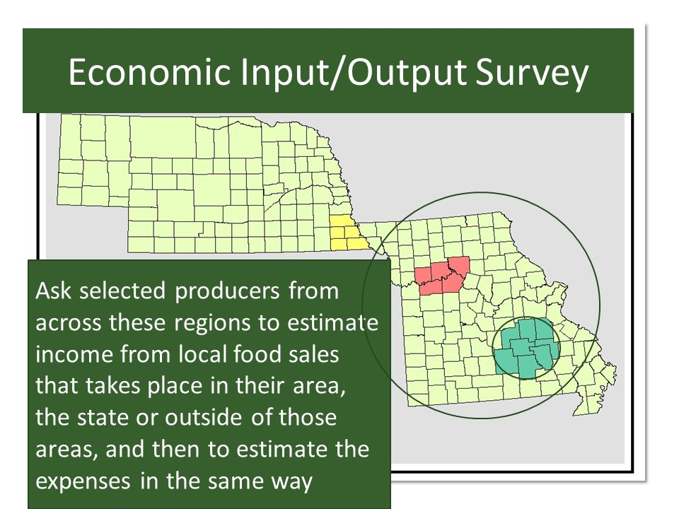 Economic Input/Output Survey Ask selected producers from across these regions to estimate income from local food sales that takes place in their area, the state or outside of those areas, and then to estimate the expenses in the same way