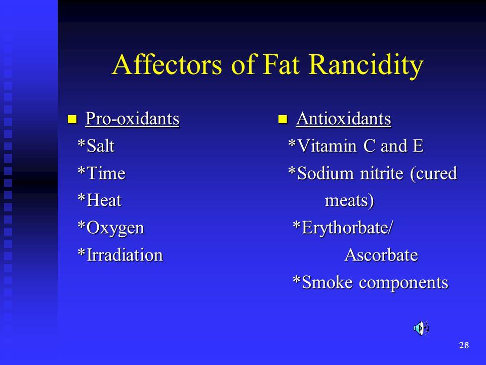 28 Affectors of Fat Rancidity Pro-oxidants Pro-oxidants *Salt *Salt *Time *Time *Heat *Heat *Oxygen *Oxygen *Irradiation *Irradiation Antioxidants *Vi