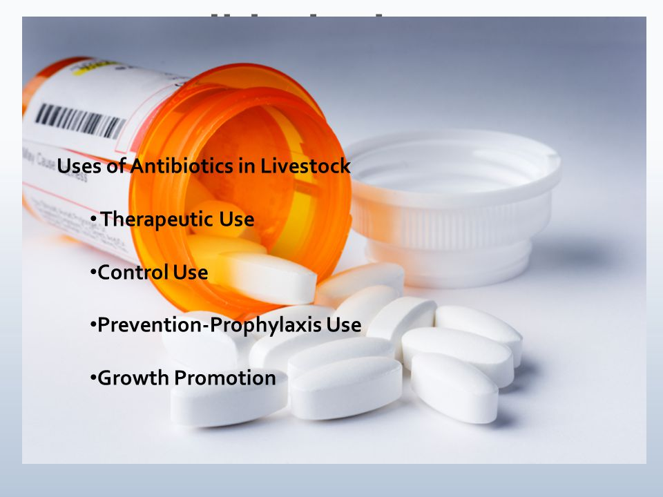 Uses of Antibiotics in Livestock Therapeutic Use Control Use Prevention-Prophylaxis Use Growth Promotion