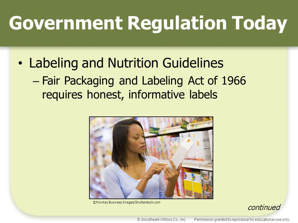 Permission granted to reproduce for educational use only.© Goodheart-Willcox Co., Inc. Government Regulation Today Labeling and Nutrition Guidelines –