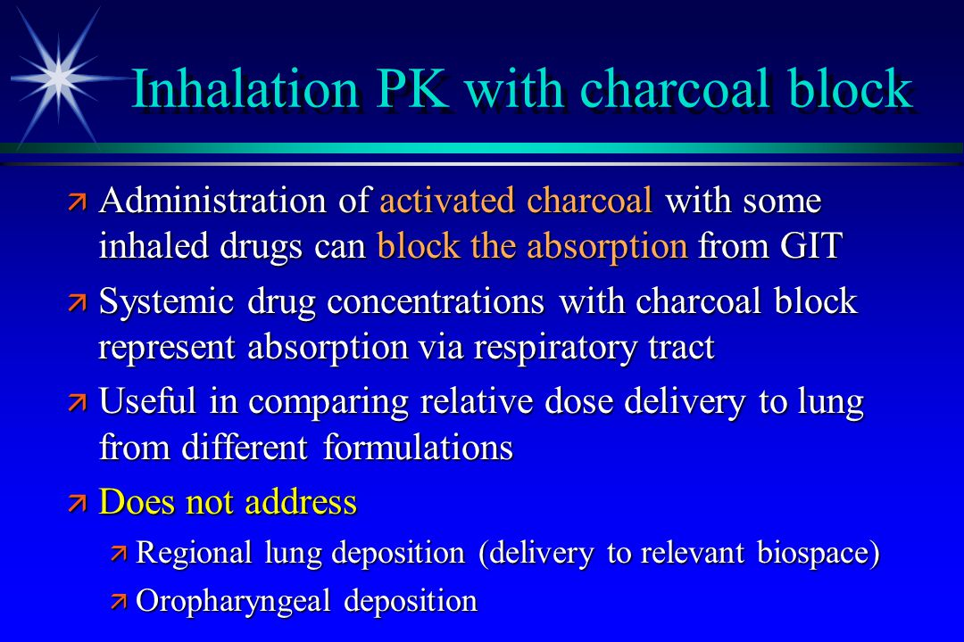 Inhalation PK with charcoal block ä Administration of activated charcoal with some inhaled drugs can block the absorption from GIT ä Systemic drug con