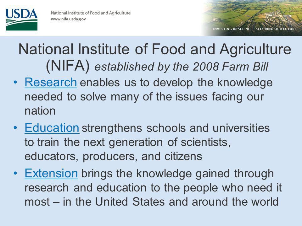 Application Process Request for Application (RFA) Posted to the NIFA website www.nifa.usda.gov link to Grants page Project Directors submit Letter of Intent (LOI) When applicable – not required for all programs Requirements provided in RFA Submission in advance of proposal deadline