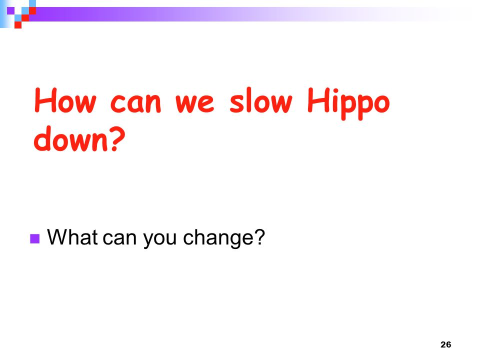 26 How can we slow Hippo down? What can you change?