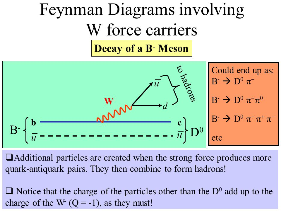 Feynman Diagrams involving W force carriers W-W- bc d B-B- D0D0 to hadrons Decay of a B - Meson Could end up as: B -  D 0   B -  D 0     B - 