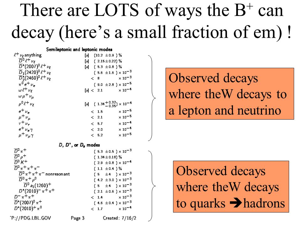 There are LOTS of ways the B + can decay (here's a small fraction of em) .
