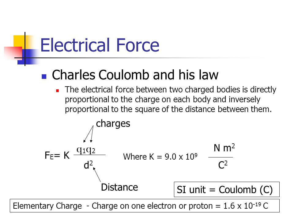 Electrical Force Charles Coulomb and his law The electrical force between two charged bodies is directly proportional to the charge on each body and i