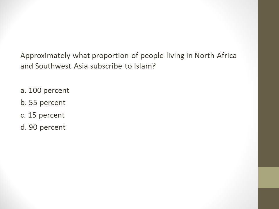 Approximately what proportion of people living in North Africa and Southwest Asia subscribe to Islam? a. 100 percent b. 55 percent c. 15 percent d. 90