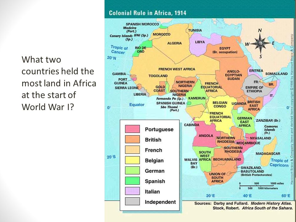 What two countries held the most land in Africa at the start of World War I?