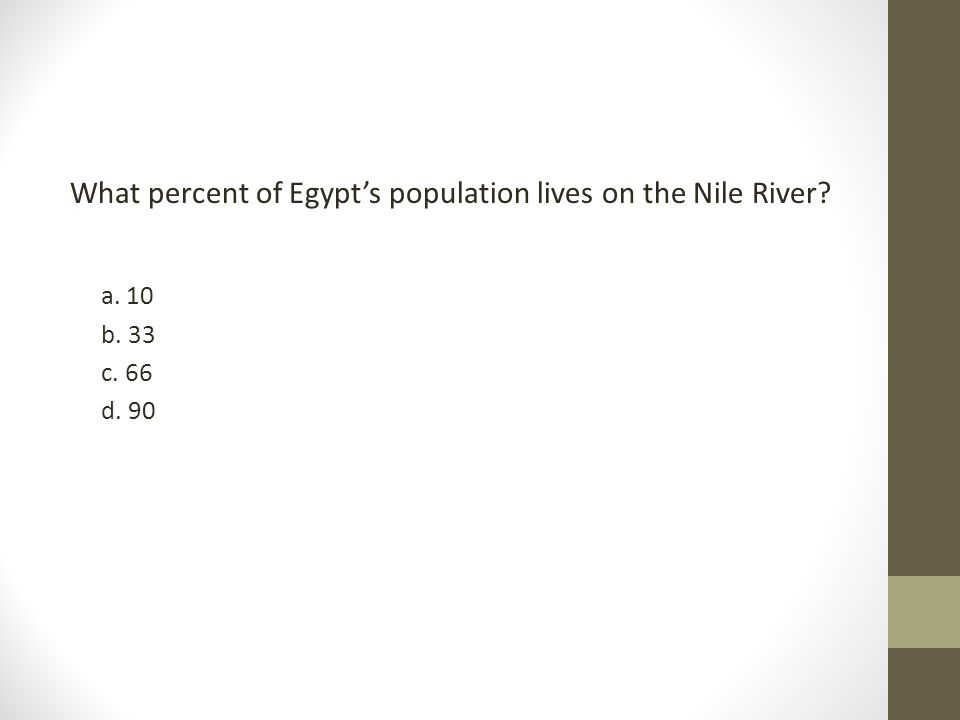 What percent of Egypt's population lives on the Nile River? a. 10 b. 33 c. 66 d. 90