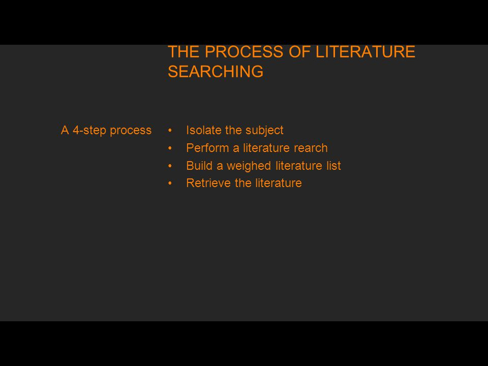 THE PROCESS OF LITERATURE SEARCHING Isolate the subject Perform a literature rearch Build a weighed literature list Retrieve the literature A 4-step process