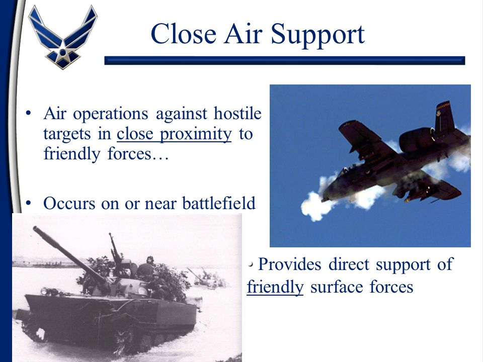 Air operations against hostile targets in close proximity to friendly forces… Occurs on or near battlefield Close Air Support Provides direct support